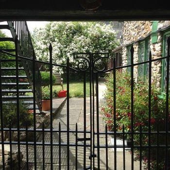 old forge view into garden
