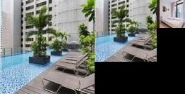 City Serviced Apartment Balcony with Marina Bay View